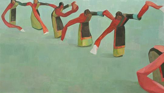 《藏族舞 No.2》,2012年,布面油彩,200 × 350 厘米