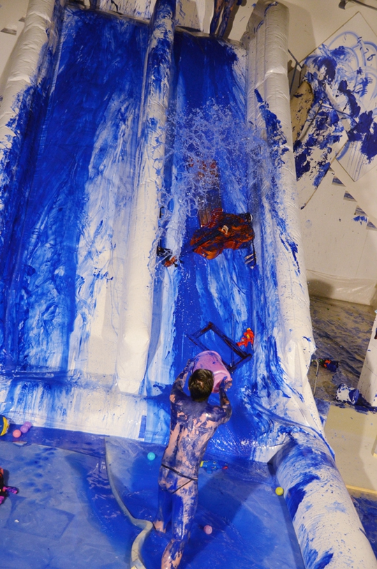View of Double Fly's Klein Blue, 2015, performance, Space Station, Beijing