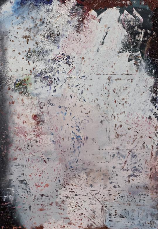 《三角关系逐渐移动No.1》,2013年 布面油画,221 × 152 厘米