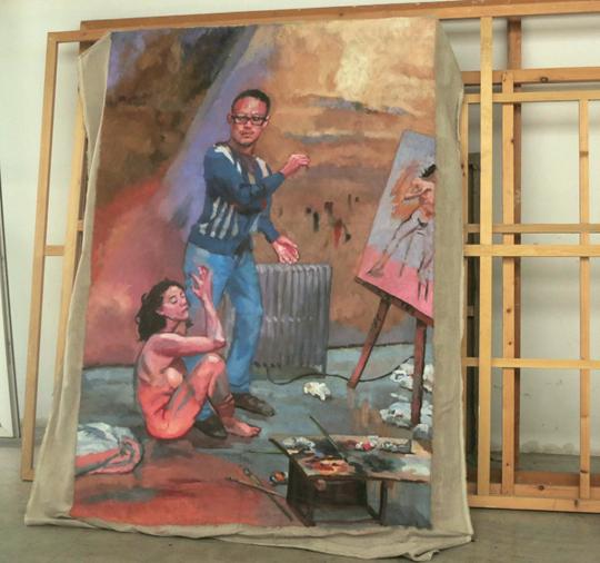 《三角关系逐渐移动No.1》(资料),2013年布面油画, 221 × 152 厘米