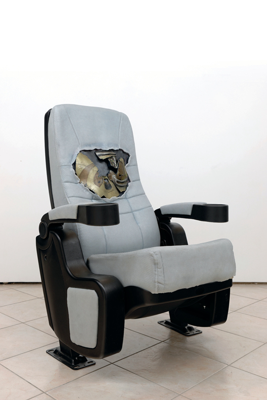 Dora Budor, Mental Parasite Retreat 1 (left), Mental Parasite Retreat 2 (right), cyborg chest prosthetics, Dragon Skin silicone, cinema chair, plastic, foam, animatronics, assorted hardware, 105 x 70 x 72 cm Courtesy the artist and New Galerie, Paris