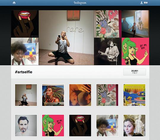 """由《DIS》杂志在Instagram发起的""""艺术自拍""""标签群体截屏"""