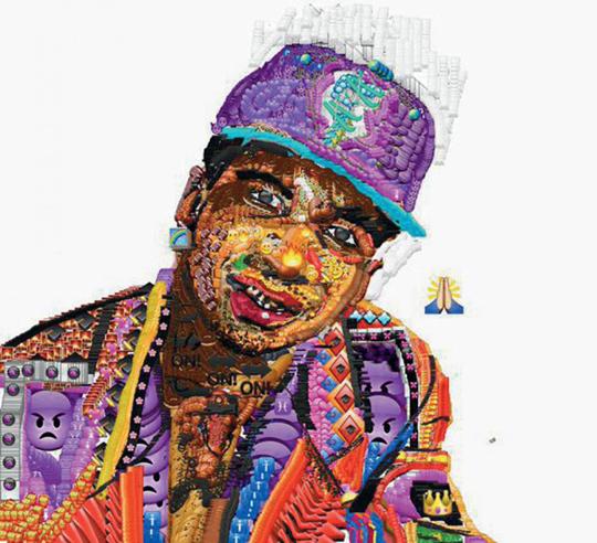 同样是网络说唱歌手和艺术家Yung Jake用绘文字制作的Lil B肖像