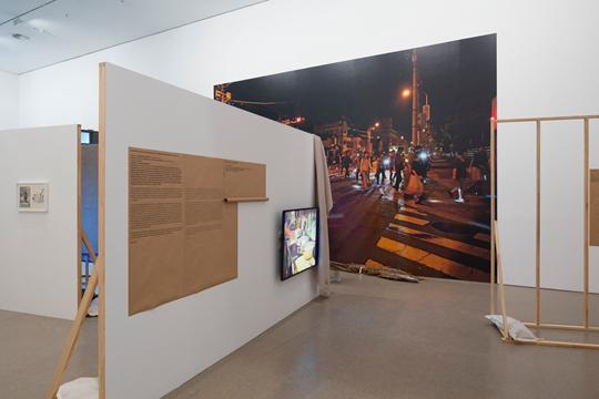 """Installationsaufnahme  Koki Tanaka: A Vulnerable Narrator  Deutsche Bank """"Künstler des Jahres"""" 2015 in der Deutsche Bank KunstHalle,  26.03. – 25.05. 2015"""