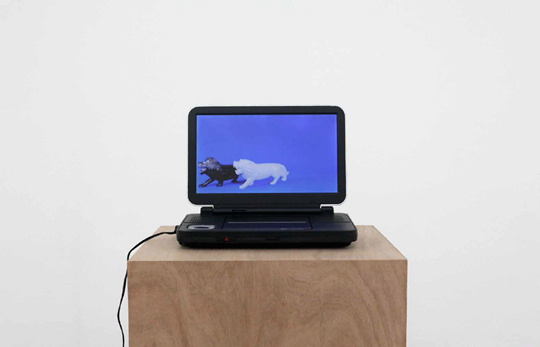 Untitled (Marble Lions) 2010 Looped digital video, DVD player, plywood plinth 12 min 8 sec, 36 x 36 x 100 cm Courtesy the artist