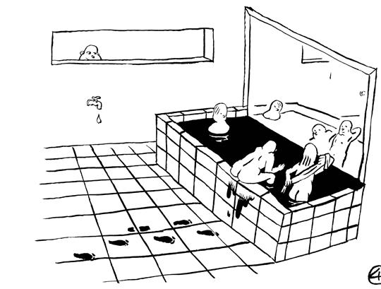 在以前国家重要的宾馆浴室 里,马赛克磁砖上往往创作了 巨幅的中国画。现在新建的高 级宾馆浴室已经没有了这样雅 致的装修要求。而今天的国画 市场则成为了供众人嬉戏的水 墨澡池,欣然接受着金融机构 的窥伺。
