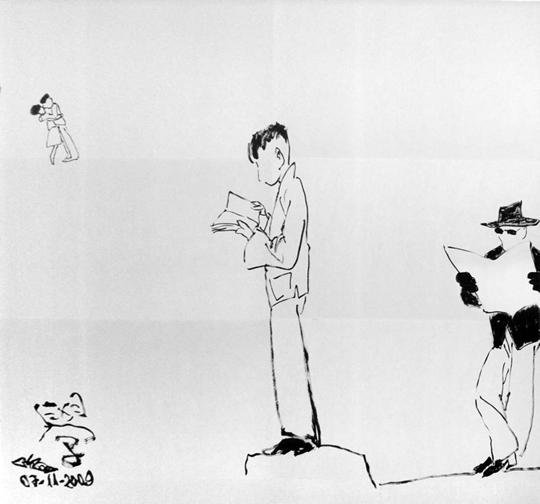 Chen Tong, Qian Xuesen (Qian), 2009, Ink on paper, 180 x 180 cm
