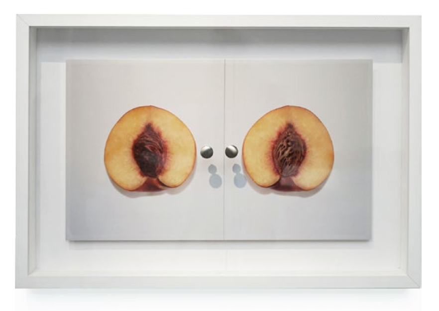 Divided Peach (2015) Wood, C-print, acrylic glass, Photoshop, copper, historical gossip