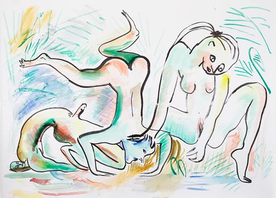 《水蟒》,2015年,纸上水彩,140×209厘米