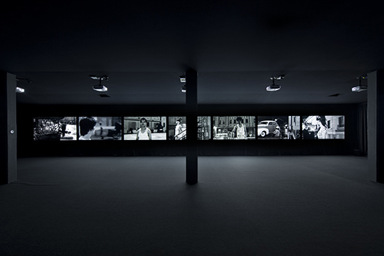 Yang Fudong, The Fifth Night, 2010, seven-channel video installation, 35 mm film transferred to HD video