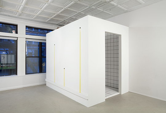 Auras, Orgasms, and Nervous Peaches, 2011, wood, tile, olive oil, 243.8 x 50.8 x 203.2 cm