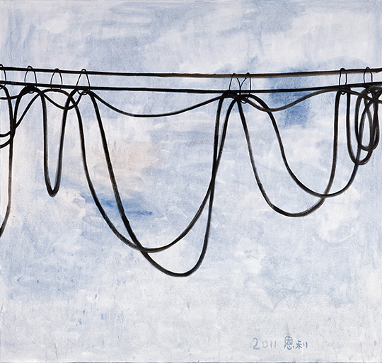 Zhang Enli, Hanging Wire, 2011, oil on canvas, 200 x 210 cm