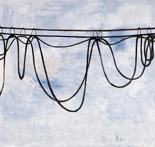 张恩利, 《悬垂的电线》, 2011年, 布面油画, 200 × 210 厘米