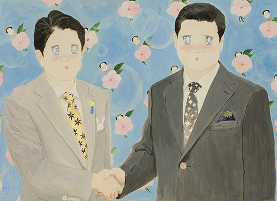 The Handshake, 2015, acrylic and pencil on paper, 109.2 x 78.7 cm