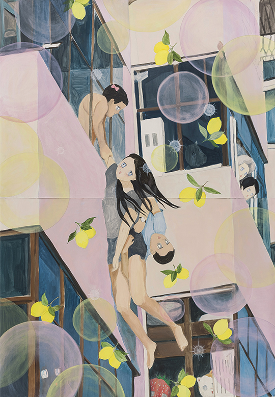 Woman Jumping off Building, 2015, acrylic and pencil on paper, 109.2 x 157.4 cm