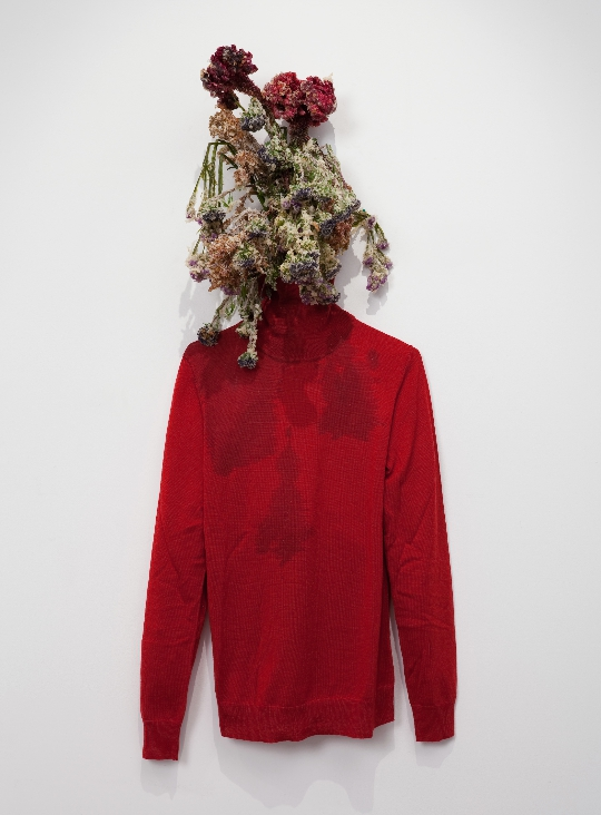 Sister, 2011, tempura-fried flowers, cotton turtleneck, dimensions variable
