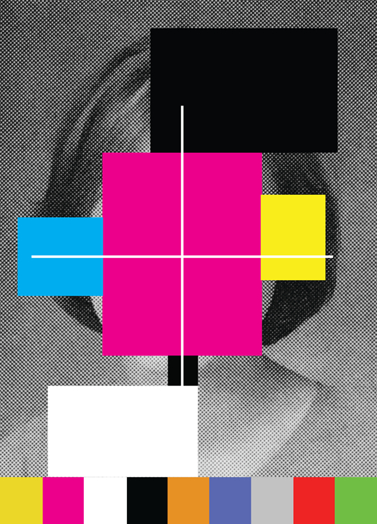 Douglas Coupland, CMYK Colour registration head, 2015, acrylic on B&W photo, laminated onto canvas, 51 x 71 cm, courtesy the artist