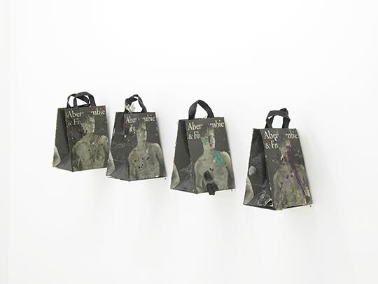 《无题购物袋1-4》 ,2013年 ,铝,购物袋,聚氨酯树脂,环 ,氧树脂,颜料,人力和化纤发,蛆虫茧,苍蝇,灰尘和其他物 ,质,37×22.5×17厘米