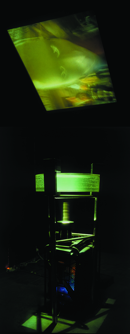 杨振中, 《上海的脸》, 1999年, 录像、水缸、机械部件 摄像机前挂一小面具,在上海人流最拥挤的南京路和西藏路路口, 环形天桥上,绕行拍摄。投影录像透过水投射到天花板上的投影屏, 上,声音信号通过电子转换器震动玻璃缸中的水。影像间歇地随着, 水的波动而破碎变形。