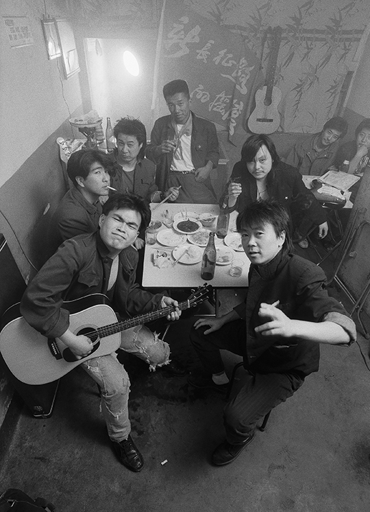 Cui Jian and his band shooting a, music video in Dashilan, early 1992, PHOTO: Wang Di