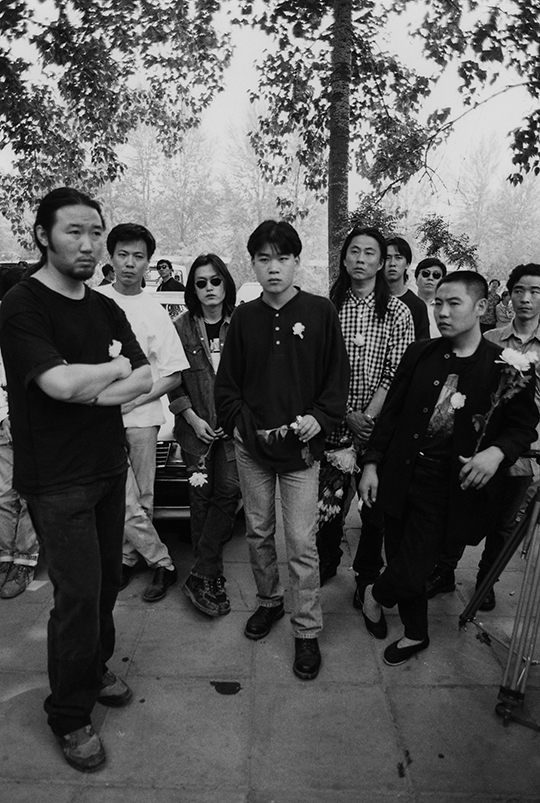 At Zhang Ju's funeral, 1995, From left: Zhang Ling (member of Mayday), artist Zhu Jia,, Zhou Ren (member of Xiutie and Pork), Jin Hai, (bassist of Zhang Chu's band and The Fly), Li Ji and Li Jie, (founders of Titanium club), PHOTO: Gao Yuan