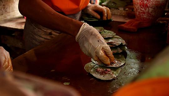 A hand at a betelnut shop