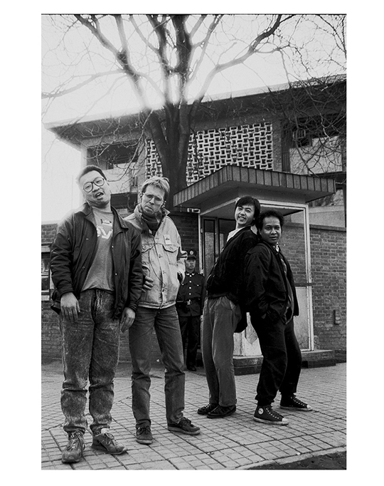 The rock band ADO in Jianwai, Embassy District, Beijing, spring 1989, PHOTO: Wang Di