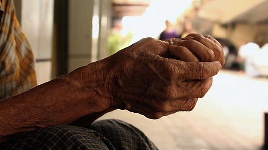 An old beggar's hand