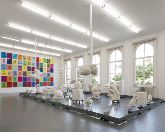 Douglas Coupland, The Living Internet, 2015; Douglas Coupland,  Slogans for the Twenty-First Century, 2011-ongoing, photographerCassanderEeftinck-Schattenkerk, installation photo Witte de With Center for Contemporary Art 2015