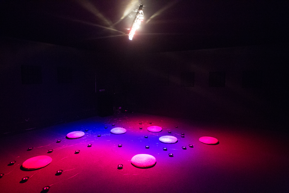 Weng Wei, Entertainment Pesticide II, 2015, sound installation (speakers, wire, amplifiers, players). Courtesy OCAT Shenzhen