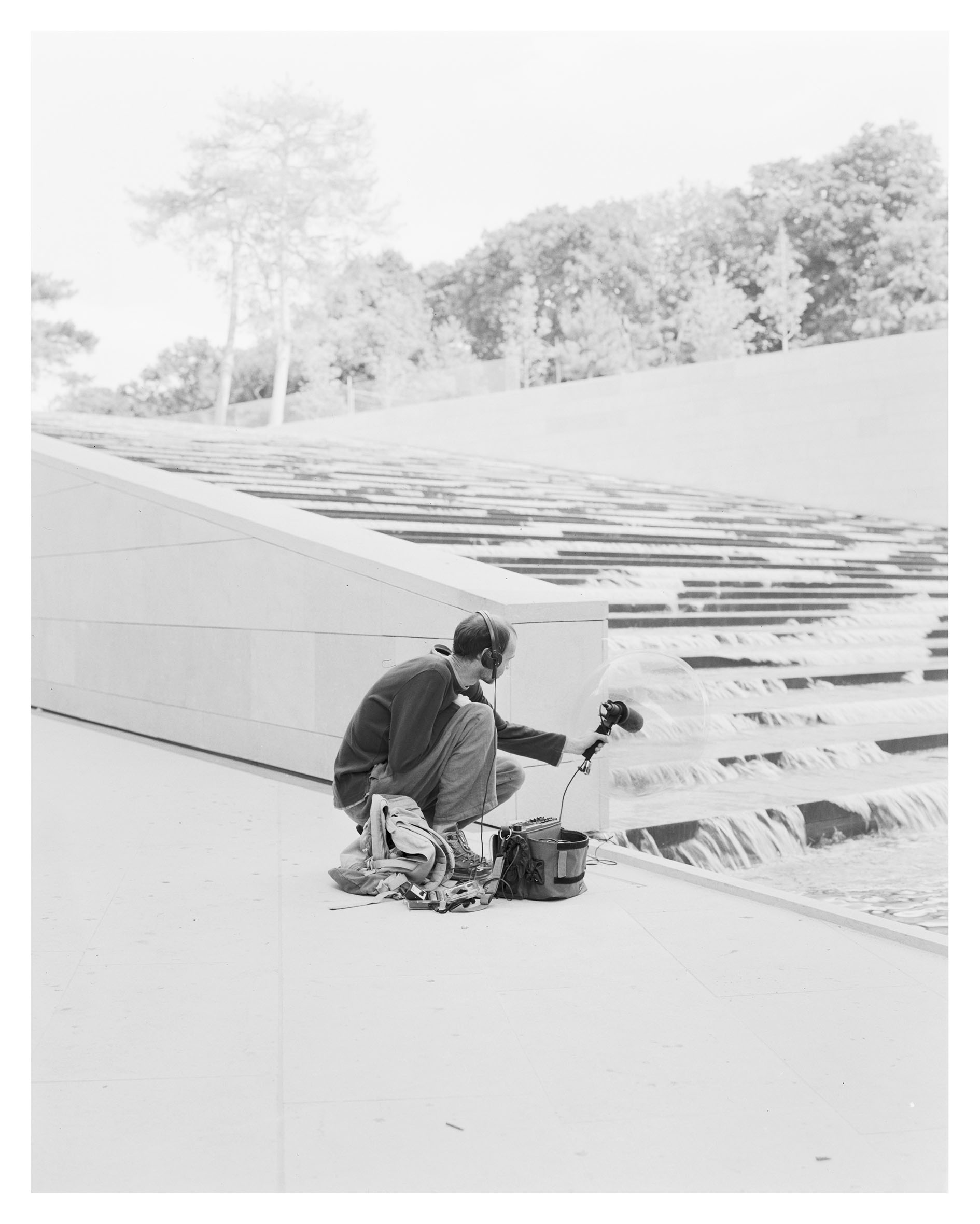 Frederic Nogray recording sound on From Architecture, Paris, July 2014, Photo: Alexandre Guirkinger, Courtesy Fondation Louis Vuitton
