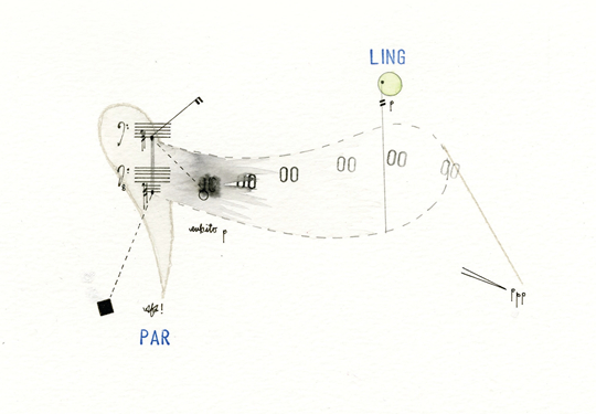 Studies for Pastoral Music, (Heckler & Koch HK91), 2015 Pencil, ink, watercolor, and modeling paste on paper, 20 x 29 cm