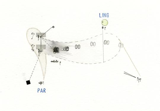 《田园音乐研究草图(HK-91)》,2015年,纸上铅笔,墨水,水彩,塑形膏,20 × 29 厘米