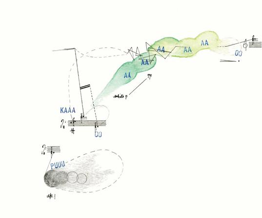 《田园音乐研究草图(前膛式手枪)》,2015年,纸上铅笔,墨水,水彩,塑形膏,20 × 29 厘米