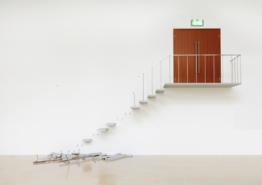 Elmgreen&Dragset Emergency Exit 2015 Aluminum, styrofoam, iron, concrete, neon sign Door: 220 x 180 x 8.5 cm; stairs: 355 x 677.5 x 120 cm