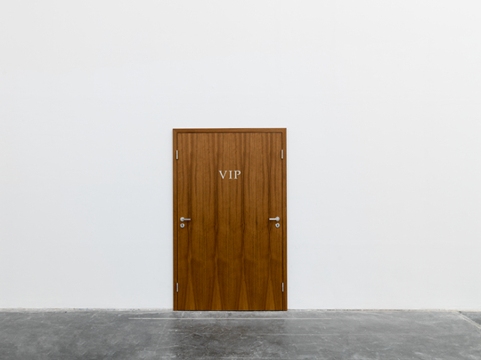 Elmgreen & Dragset, Plus One, 2015 Teak doors, metal handles and hinges 209.5 x 130.4cm Photo: Eric Gregory Powell Courtesy the artists