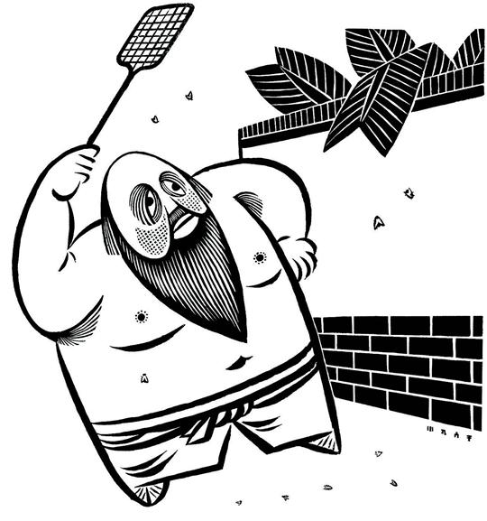 L'Elimination des mouches, bande dessinée, 56 x 45 cm