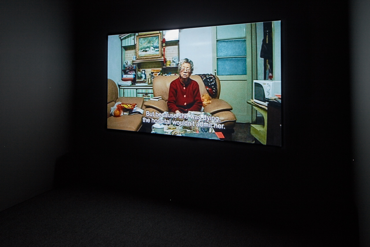 "View of ""Wang Bing: Three Portraits"", 2016, CCA Wattis Institute, Fengming, a Chinese Memoir, 2007 Courtesy of Wang Bing PHOTO: Johnna Arnold"