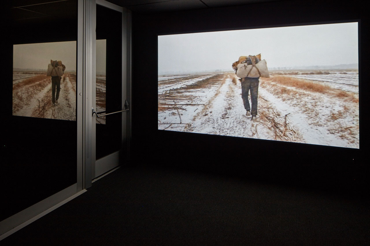 "View of ""Wang Bing: Three Portraits"", 2016, CCA Wattis Institute, Men With No Name, 2009 Courtesy Wang Bing PHOTO: Johnna Arnold"