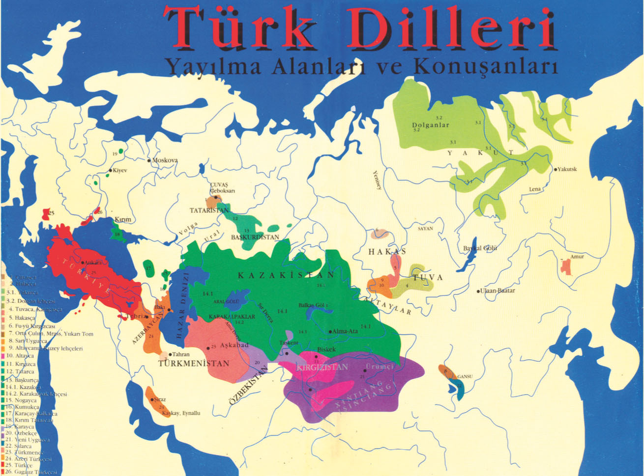 A map of the Turkic languages, most of whose speakers have historically been under Russian and not Ottoman rule.